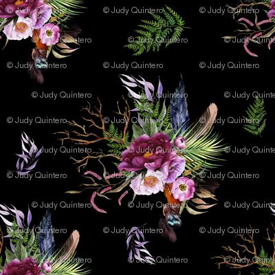 """4"""" Boho Lilac Tiger Florals - Black"""