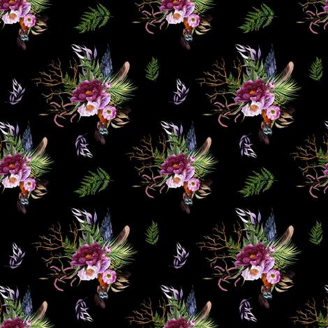 "4"" Boho Lilac Tiger Florals - Black fabric by shopcabin on Spoonflower - custom fabric"