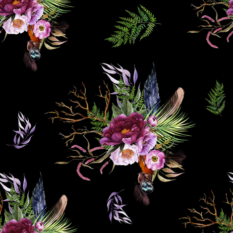 "8"" Boho Lilac Tiger Florals - Black fabric by shopcabin on Spoonflower - custom fabric"