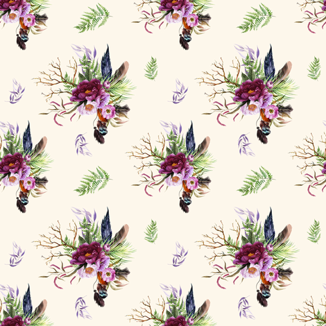 "4"" Boho Lilac Tiger Florals - Ivory fabric by shopcabin on Spoonflower - custom fabric"