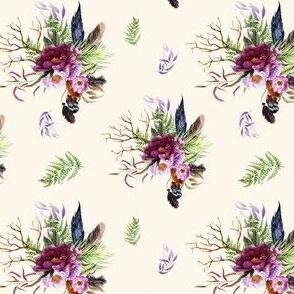 "4"" Boho Lilac Tiger Florals - Ivory"