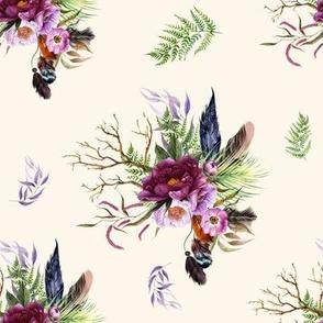 "8"" Boho Lilac Tiger Florals - Ivory"