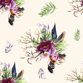 "21"" Boho Lilac Tiger Florals - Ivory"