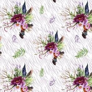"4"" Boho Lilac Tiger Florals - Lilac Stripes"