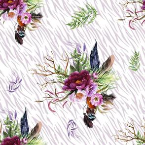 "21"" Boho Lilac Tiger Florals - Lilac Stripes"