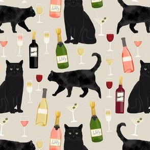 black cat wine fabric cute rose  and cats fabric kitty cat fabric cat lady fabric - beige