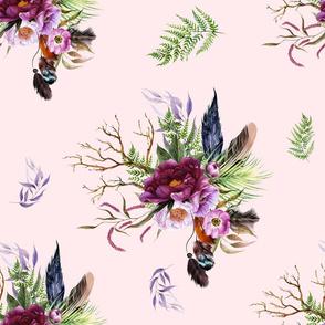 "21"" Boho Lilac Tiger Florals - Pink"
