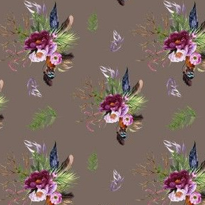 """4"""" Boho Lilac Tiger Florals - Tan"""