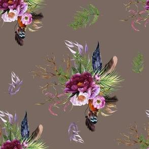 """8"""" Boho Lilac Tiger Florals - Tan"""
