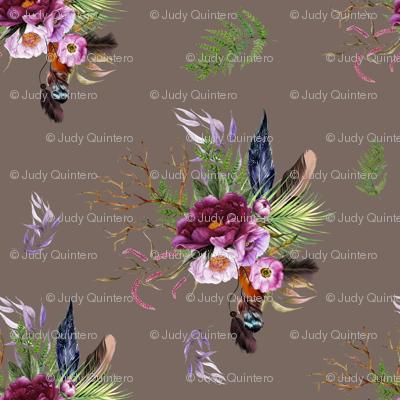 """21"""" Boho Lilac Tiger Florals - Tan"""
