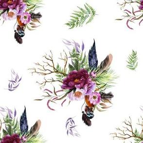 "8"" Boho Lilac Tiger Florals - White"