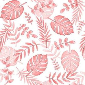 Leafy pattern pastel salmon pink on white