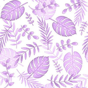 Leafy pattern pastel purple on white