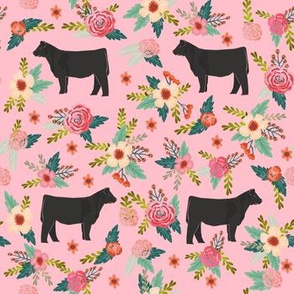 steer floral fabric - simple layout - pink