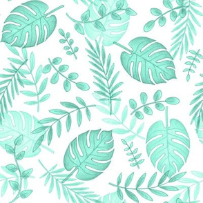 Leafy pattern pastel aqua on white