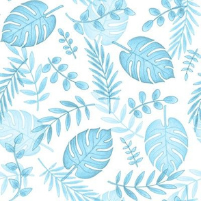 Leafy pattern pastel light blue on white