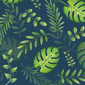 Leafy pattern green on navy