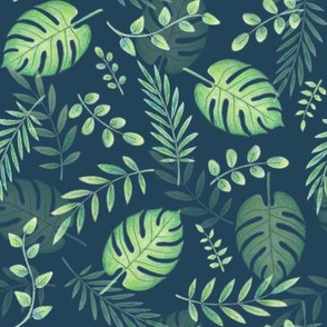 Leafy pattern light green on navy