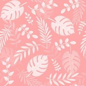 Leafy pattern pastel salmon