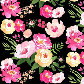 Big Floral Black - Black Watercolor Floral