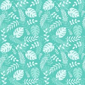 Leafy pattern pastel aqua