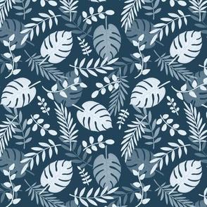Leafy pattern navy
