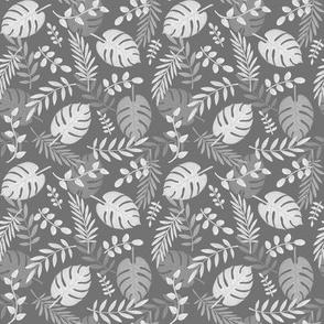 Leafy pattern dark grey