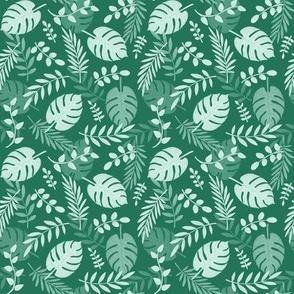 Leafy pattern emerald green