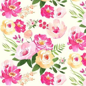 Big Floral Ivory - Watercolor Floral