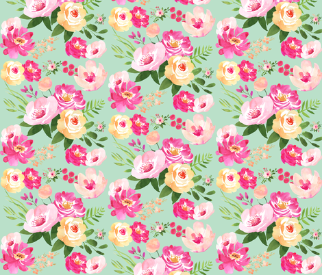Big Floral Mint fabric by modfox on Spoonflower - custom fabric