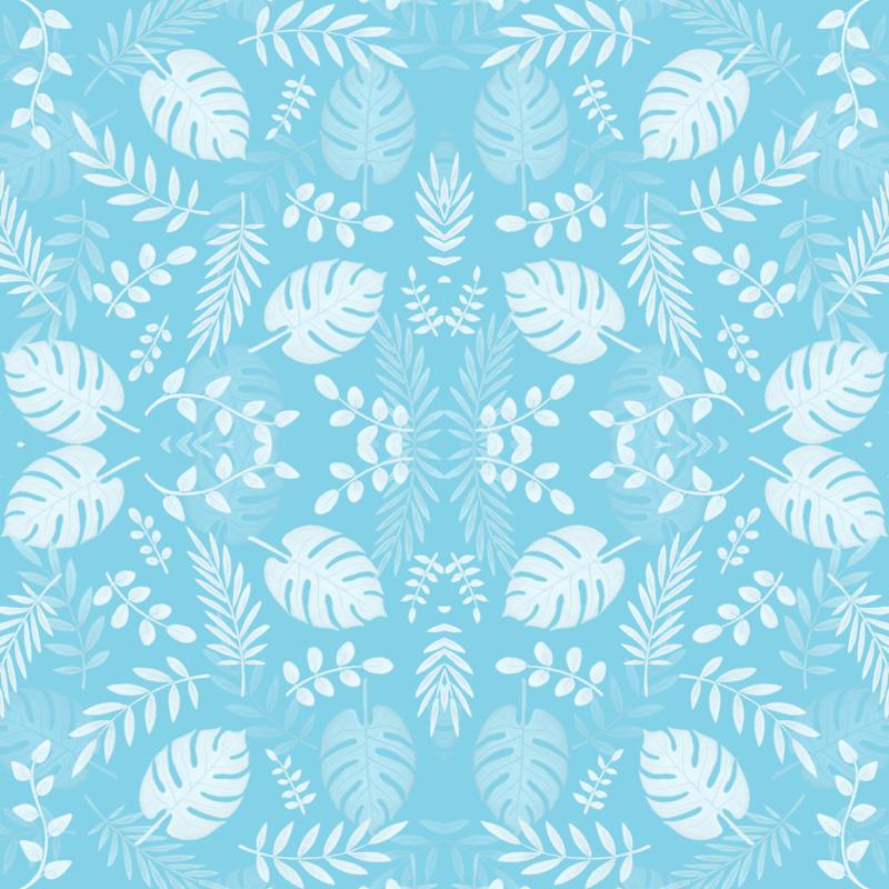 Leafy Pattern Pastel Light Blue Wallpaper