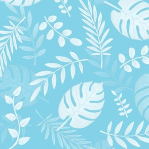 Leafy pattern pastel light blue