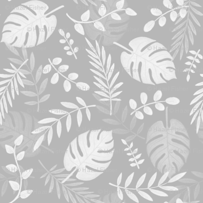 Leafy pattern light grey