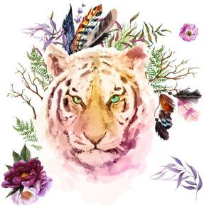 "14"" Boho Lilac Tiger - White"