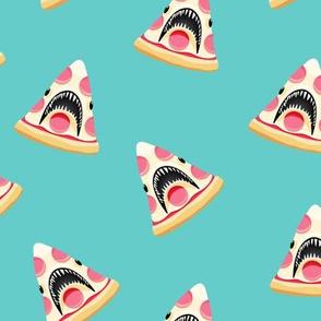 pizza shark (pink pepperoni)  - aqua