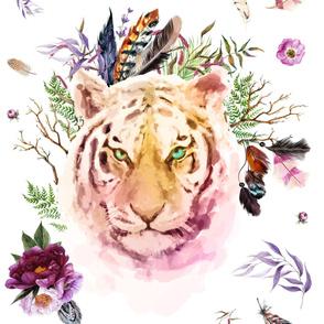 "42"" x 36"" Boho Lilac Tiger"