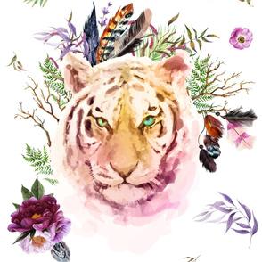 "56"" x 36"" Boho Lilac Tiger"