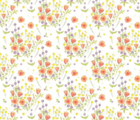 wildflowers watercolor on white / nursery baby kids floral design fabric by houseintheorchard on Spoonflower - custom fabric