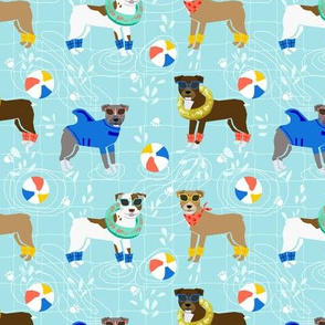 pitbull pool party summer sun dog breed fabrics light blue