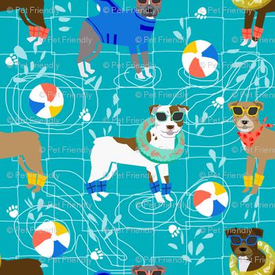 pitbull pool party summer sun dog breed fabrics blue