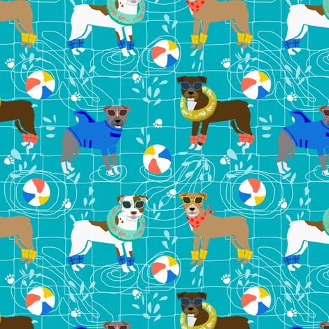 pitbull pool party summer sun dog breed fabrics blue fabric by petfriendly on Spoonflower - custom fabric