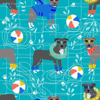 pitbull pool party summer sun dog breed fabrics