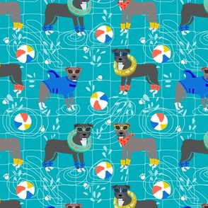 pitbull pool party summer sun dog breed fabrics