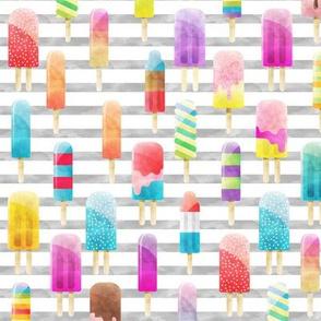 Summer Popsicles on Grey Stripe B