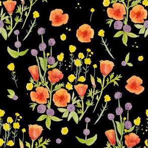 wildflowers watercolor on black / nursery baby kids floral design
