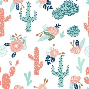 cactus flowers florals mint coral navy floral girls flower cacti cute cactus