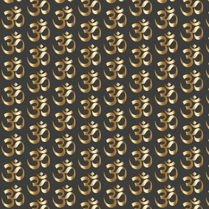 Gold OM on Charcoal ohm zen yoga