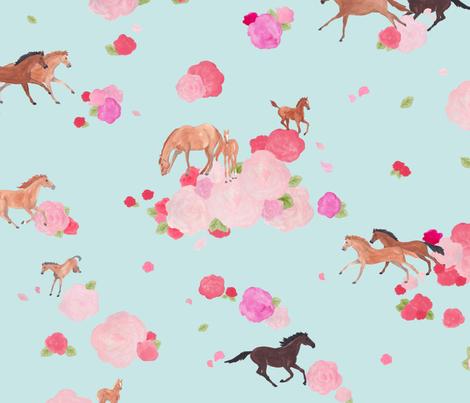 Galloping roses fabric by lemon_chiffon on Spoonflower - custom fabric