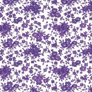 Tiny Monochrome Floral - Relay Purple