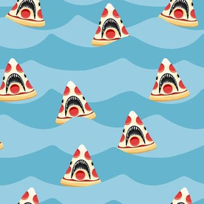 pizza shark - swimming  light blue